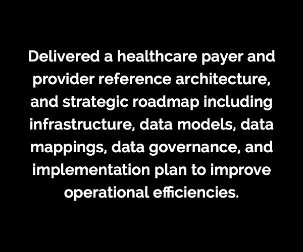 Delivered a healthcare payer and provider reference architecture, and strategic roadmap including infrastructure, data models, data mappings, data governance, and implementation plan to improve operational inefficiencies.