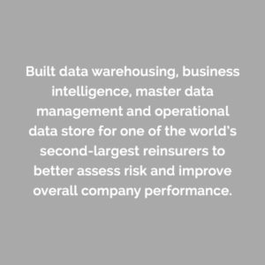 Caserta built data warehousing, business intelligence, master data management and operational data store for one of the world's largest re-insurers to better assess risk and improve overall company performance.