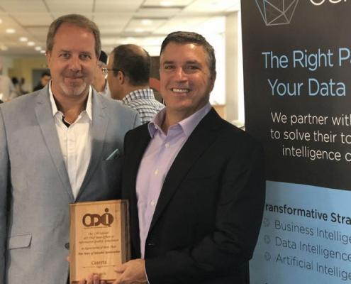 joe caserta and doug laney receive award for cdo support at mid cdoiq