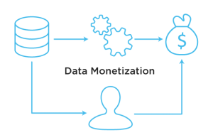 data monetization graphic explaining how information in an organization gets monetized
